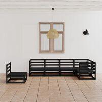 vidaXL 6-tlg. Garten-Lounge-Set Schwarz Massivholz Kiefer