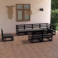 vidaXL 8-tlg. Garten-Lounge-Set Schwarz Massivholz Kiefer