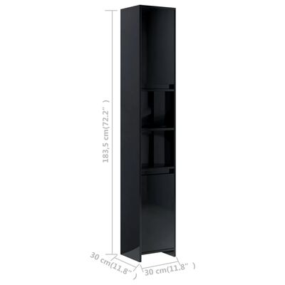vidaXL Badezimmerschrank Hochglanz-Schwarz 30x30x183,5 cm Spanplatte