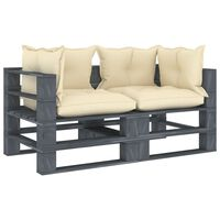 vidaXL Garten-Palettensofa 2-Sitzer mit Creme-Kissen Holz