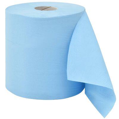 vidaXL 2-lagige Industrielle Papier-Wischtücher 2 Rollen 20 cm Blau