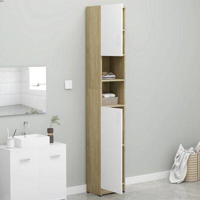 vidaXL Badezimmerschrank Weiß und Sonoma-Eiche 32×25,5×190 cm Spanplatte