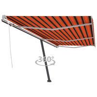 vidaXL Freestanding Manual Retractable Awning 600x300 cm Orange/Brown (313234+46864+315098)