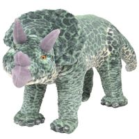 vidaXL Plüschtier Stehend Triceratops Dinosaurier Grün XXL