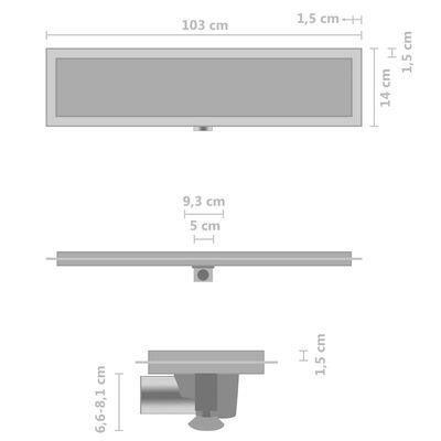vidaXL Duschablauf 2-in-1 Abdeckung 103×14 cm Edelstahl