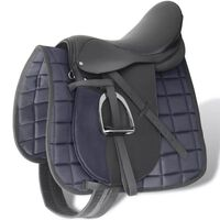 "Pferdereiten Sattelset 17,5"" echtes Leder schwarz 18 cm 5-in-1"