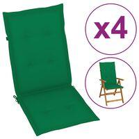 vidaXL Gartenstuhlauflagen 4 Stk. Grün 120x50x4 cm