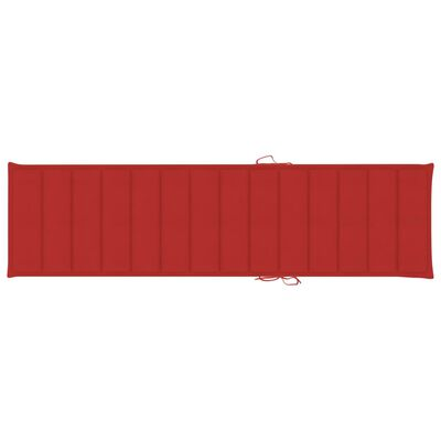 vidaXL Sonnenliege mit Auflage Rot Massivholz Teak