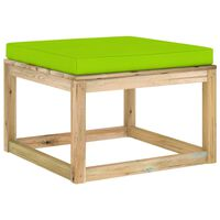 vidaXL Garten-Fußhocker mit Kissen Grün Imprägniertes Kiefernholz