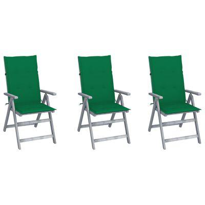 vidaXL Verstellbare Gartenstühle 3 Stk. mit Auflagen Massivholz Akazie