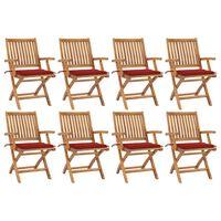vidaXL Klappbare Gartenstühle mit Kissen 8 Stk. Massivholz Teak