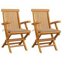 vidaXL Gartenstühle mit Beige Kissen 2 Stk. Massivholz Teak