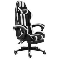 vidaXL Gaming-Stuhl mit Fußstütze Schwarz und Weiß Kunstleder