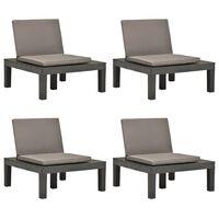 vidaXL Gartenstühle mit Auflagen 4 Stk. Kunststoff Anthrazit