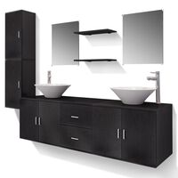 vidaXL 11-tlg. Badmöbel-Set mit Waschbecken und Wasserhahn Schwarz