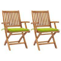 vidaXL Gartenstühle 2 Stk. mit Hellgrünen Kissen Teak Massivholz