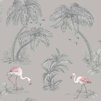 DUTCH WALLCOVERINGS Tapete Flamingo Grau
