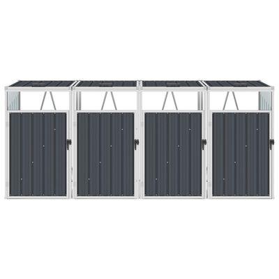 vidaXL Mülltonnenbox für 4 Mülltonnen Anthrazit 286×81×121 cm Stahl