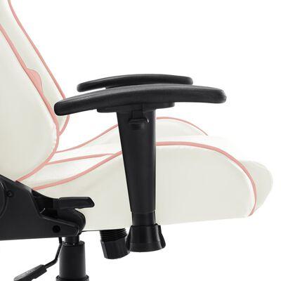 vidaXL Gaming-Stuhl Weiß und Rosa Kunstleder