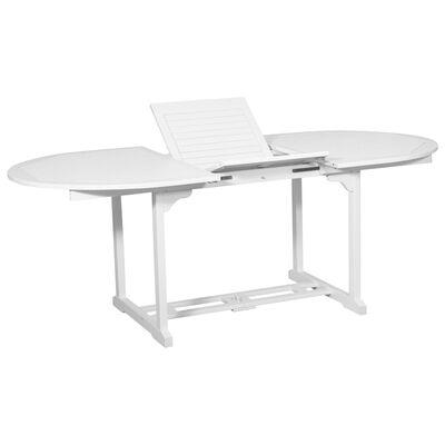 vidaXL 7-tlg. Outdoor-Essgarnitur Weiß mit ausziehbarem Tisch Holz