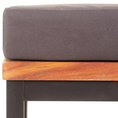 vidaXL Fußablage mit Auflage 66×66×36 cm Akazien Massivholz Dunkelgrau
