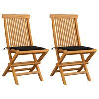 vidaXL Gartenstühle mit Schwarzen Kissen 2 Stk. Massivholz Teak