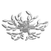 Deckenlampe transparente weiße Blätterranken mit Acryl-Blättern 5x E14