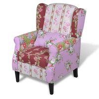 vidaXL Französischer Sessel mit Patchwork-Design Stoff
