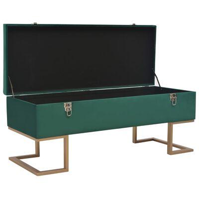 vidaXL Bank mit Staufach 105 cm Grün Samt