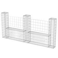 vidaXL Gabionenkorb U-Form Stahl 240×20×100 cm