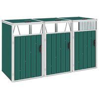 vidaXL Mülltonnenbox für 3 Mülltonnen Grün 213×81×121 cm Stahl