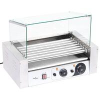 vidaXL Hotdog-Roller 7 Rollen mit Glasabdeckung 1400 W