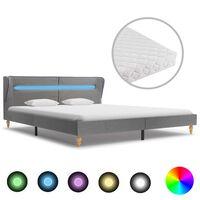 vidaXL Bett mit LED und Matratze Hellgrau Stoff 180×200 cm