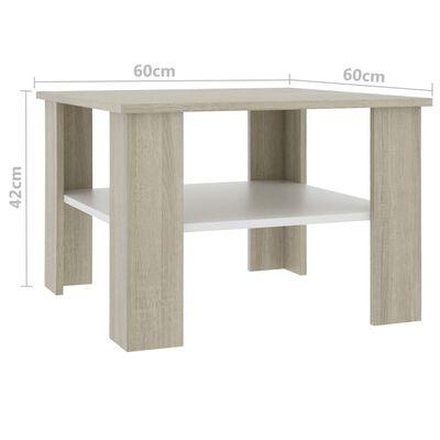 vidaXL Couchtisch Weiß Sonoma-Eiche 60×60×42 cm Spanplatte