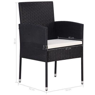 vidaXL Gartenstühle 4 Stk. Poly Rattan Schwarz