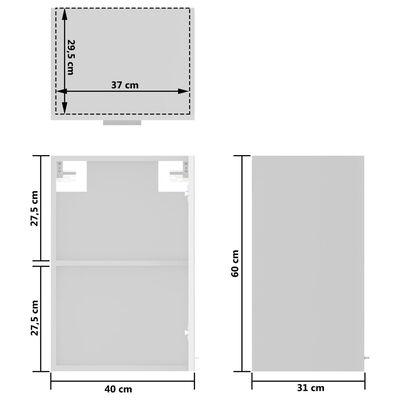 vidaXL Hängeglasschrank Hochglanz-Weiß 40x31x60 cm Spanplatte