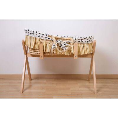 CHILDHOME Moseskorb Raffiabast mit Matratze und Bezug Leopardenmuster