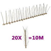 vidaXL 20-tlg. Vogelabwehr-Spikes-Set 10 m Kunststoff 5-reihig