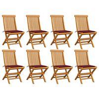 vidaXL Gartenstühle mit Weinroten Kissen 8 Stk. Massivholz Teak