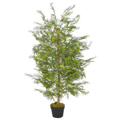 vidaXL Künstliche Pflanze Zypresse mit Topf Grün 120 cm