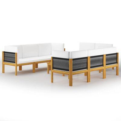 vidaXL 9-tlg. Garten-Lounge-Set mit Kissen Cremeweiß Massivholz Akazie