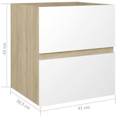 vidaXL Waschbeckenunterschrank Weiß und Sonoma 41x38,5x45 cm Spanplatte