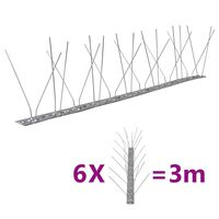 vidaXL 6-tlg. Vogelabwehr-Spikes-Set 3 m Edelstahl 4-reihig