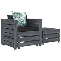 vidaXL 2-tlg. Garten-Lounge-Set mit Blumenkissen Holz