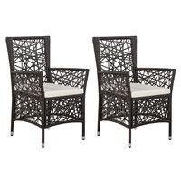 vidaXL Gartenstühle 2 Stk. mit Auflagen Poly Rattan Braun