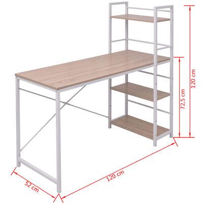 vidaXL Schreibtisch mit Bücherregal mit 4 Böden Eiche