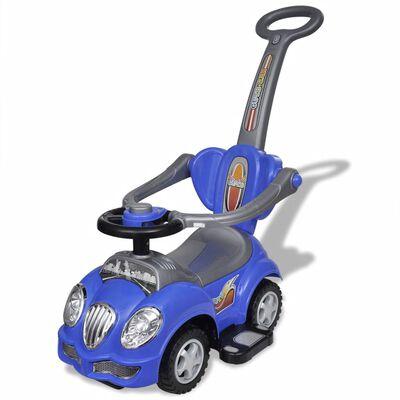 Blaues Kinder-Aufsitz-Auto mit Schubstange