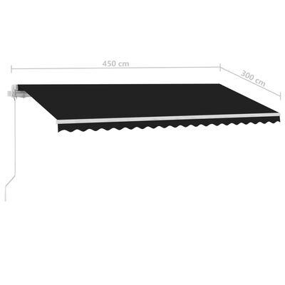 vidaXL Standmarkise Einziehbar Handbetrieben 450x300 cm Anthrazit