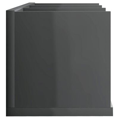 vidaXL CD-Wandregal Hochglanz-Grau 75 x 18 x 18 cm Spanplatte