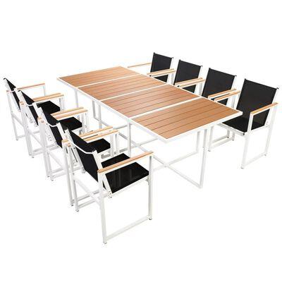 vidaXL 9-tlg. Garten-Essgruppe mit WPC-Tischplatte Aluminium